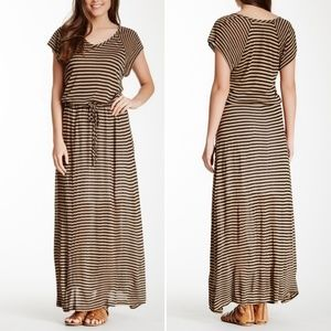 Splendid Drawstring Short Sleeve Maxi Dress L
